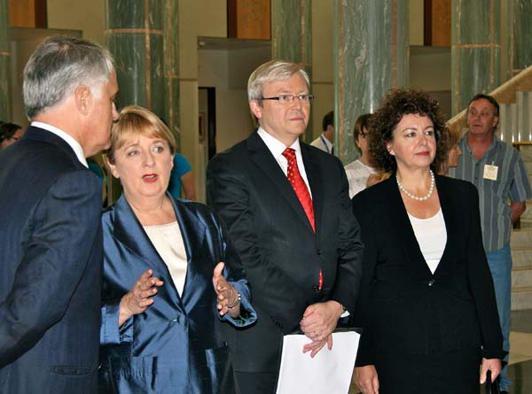 Malcolm Turnbull, Jenny Macklin, Kevin Rudd and Therese Rein in the foyer of Parliament House