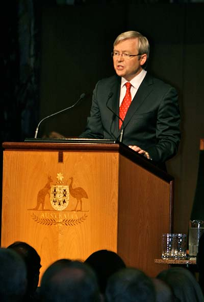 Kevin Rudd speaking at the podium in the Great Hall of Parliament House.