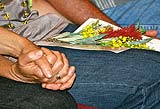 two hands holding each other tightly,  with a small sprig of flowers on one person's lap.