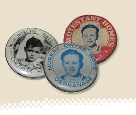 badges from Roslyn Hall Children's Home, Murray Dwyer Boys Orphanage, Protestant Homes